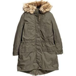 NWT! H&M Green Cotton Lined Parka w/Fur Hood